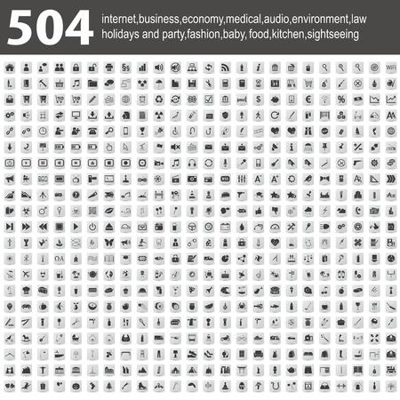 504 Pictogrammen met schaduw
