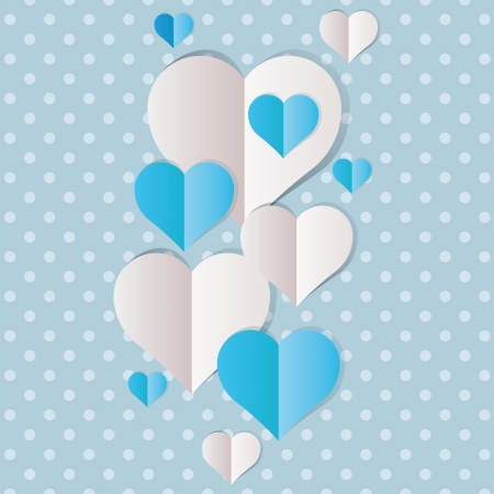 Blue and white paper hearts Valentines day Vector
