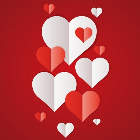 Red and white paper hearts Valentines day card Vector