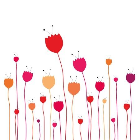tulips isolated on white background: floral decorative background Illustration