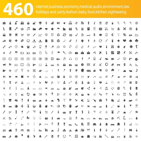 460 grey icons Stock Vector - 18196103