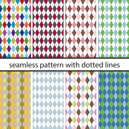Set seamless pattern with dotted lines