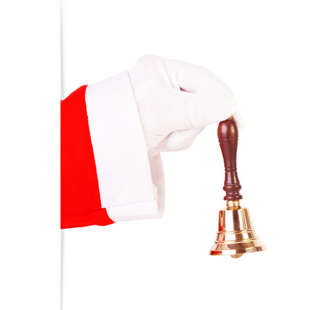 Santa Claus ringing a gold bell Stock Photo