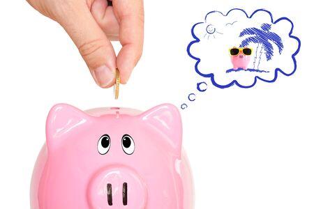 Dreaming piggy bank photo