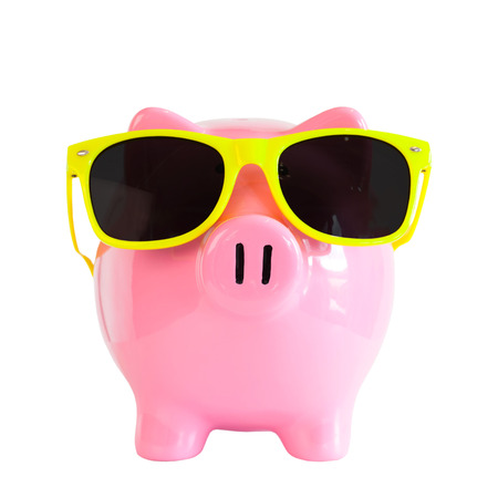 out dated: Piggy bank with sunglasses
