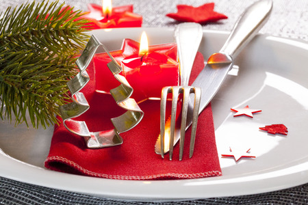table setting for christmas with decoration photo