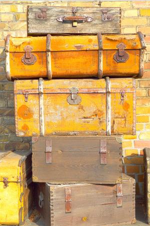 antique suitcase: Vintage brown suitcases Stock Photo