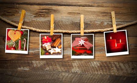 Photo frames with christmas decoration photo