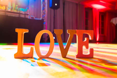 Love sign on the dance floor Stock Photo