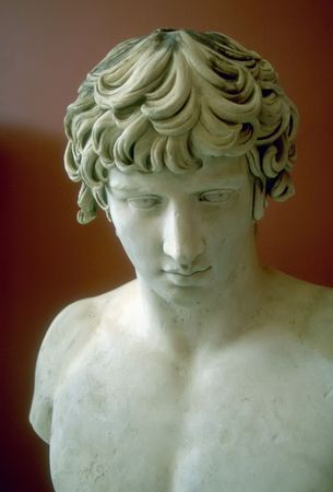 greek mythology: A Greek youth in white marble. Stock Photo
