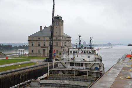 Ship at Soo Locks, Michigan