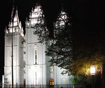 Temple at Night, Salt Lake City, Utah Stock Photo