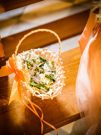 flower basket at the wedding with laurel and lavender Stock Photo