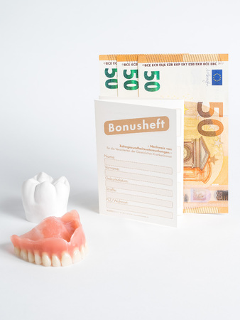the bonus booklet of fifty euros seems to be a prosthesis and a tooth of plaster on a white background