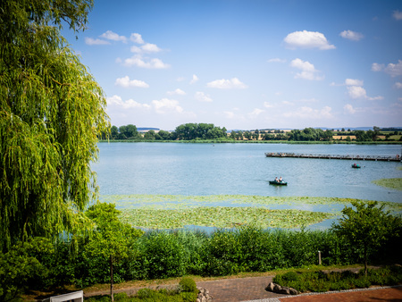 The lake in summer with bathers and rowing boats, entering a nature reserve of people