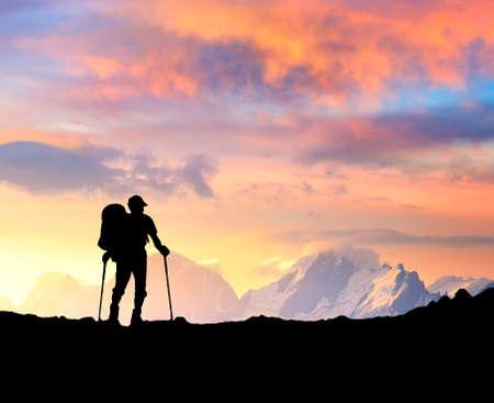Silhouette of the tourist photo