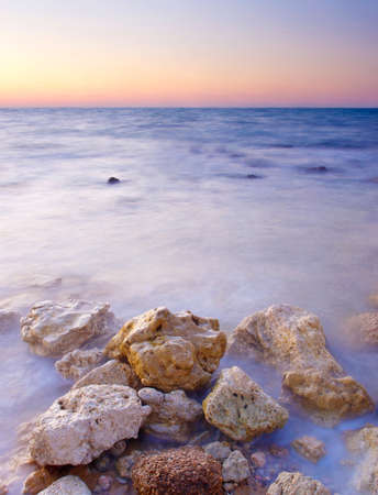 sea scenery: Bright seascape during sunset