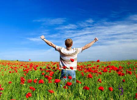 Happy person in the field