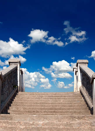 Stairs and cloudy sky photo