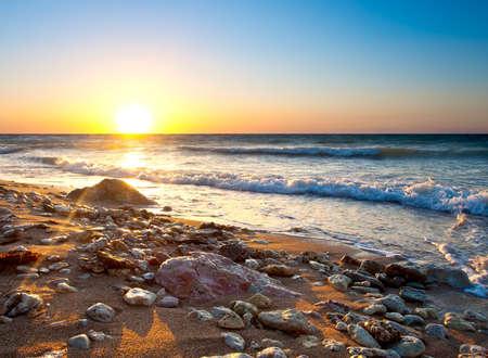 Beau paysage pendant le coucher du soleil Banque d'images