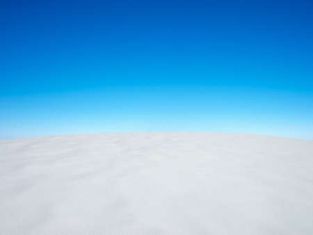 boundless: Snowy plain and bright sky  Beautiful summer landscape