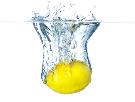 Juicy lemons and water splash