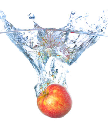 Apple and water splash photo