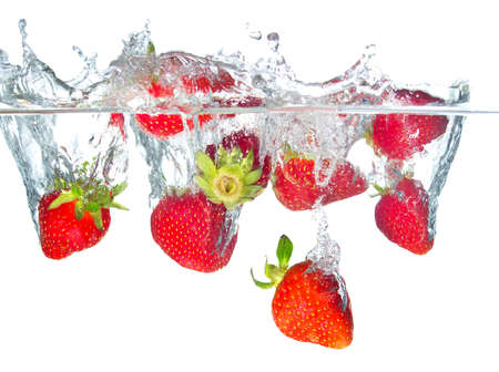 Juicy strawberry and water splash