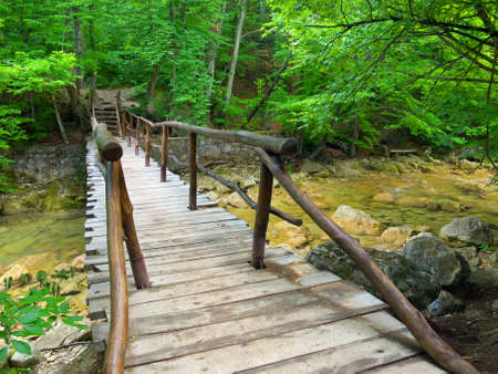 Wooden bridge in the canyon photo