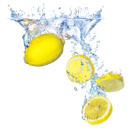 Lemons and water splash