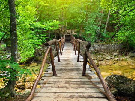 Wooden bridge in the canyon Foto de archivo