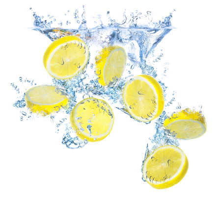 Lemons and water splash photo