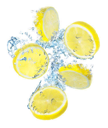 Lemons and water splash