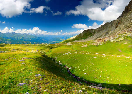 Mountain valley in summer time photo