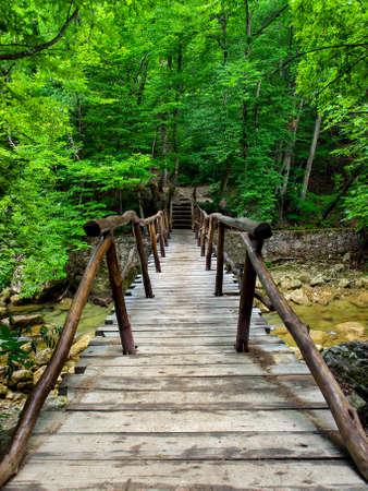 luminescence: Wooden bridge in canyon