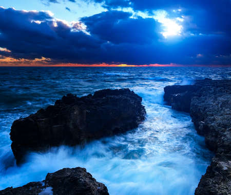 Seascape during sunset in summer time