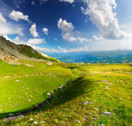 Mountain valley in the summer time. Beautiful summer landscape photo