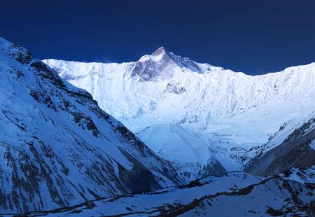 himalaya: Panorama of high mountains in Himalaya. Beautiful natural landscape Stock Photo