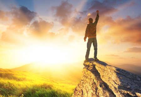 Winner on the mountain top. Sport and actie life concept Banco de Imagens