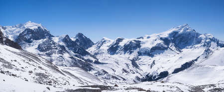 high mountain: High mountain range. Natural panoramic composition