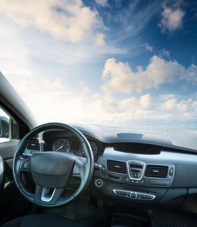 Car inside composition. Concept and idea Banco de Imagens - 40952427
