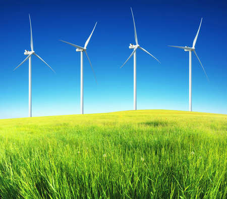 wind mills: Wind power station. Ecological energy composition