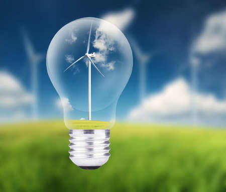 electric power: Wind power station in lamp. Ecological energy concept Stock Photo
