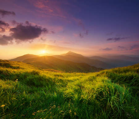 Mountain valley during sunrise. Natural summer landscape Stock Photo - 43688943