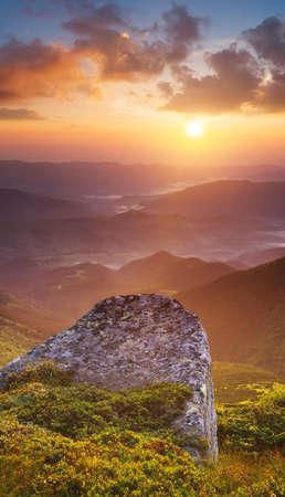 Mountain valley during sundown. Beautiful summer landscape