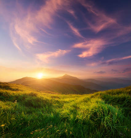 Mountain valley during sunrise. Natural summer landscape Stock Photo - 45234522