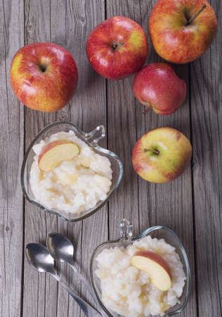 pap: Porridge from rise with apple. Food background