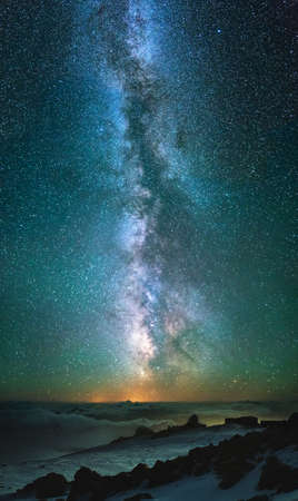 wide angle: Night sky with stars as a background. Beautiful natural composition