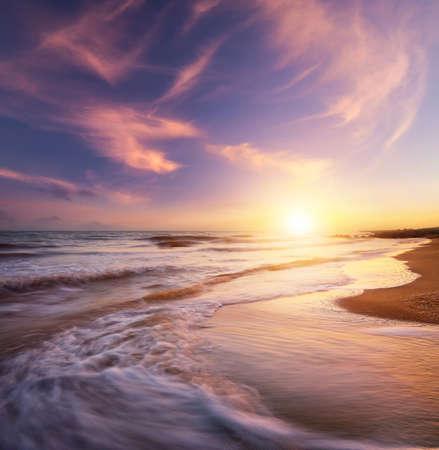 seascape: Seascape during sundown. Beautiful natural seascape