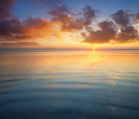 the sky with clouds: Seascape during sunrise. Beautiful natural summer seascape